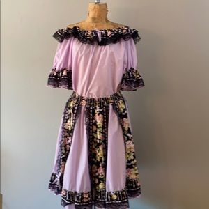 Awesome Vintage Puff Sleeve Top & Skirt Large
